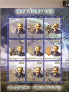 Albert Einstein Meteorite Stamps Sheet - from the Republic of Congo. Sold out. Congo, Albert Einstien, Meteorite For Sale, Einstein, Sunshine Love, Theoretical Physics, Theory Of Relativity, Nobel Prize Winners, The Republic