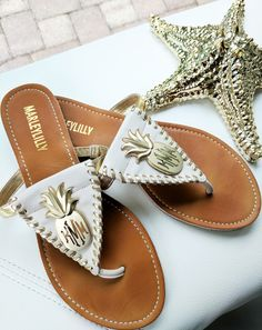 Get summertime ready with a pair of our newww Monogrammed Pineapple Sandals!!