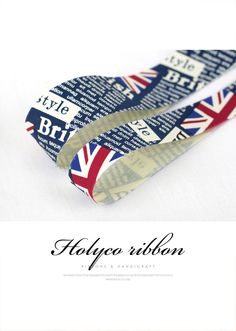 """Union Jack and Text Fabric Ribbon / 1"""" (25mm), 1.5"""" (40mm) / made in korea. by HOLYCO on Etsy"""