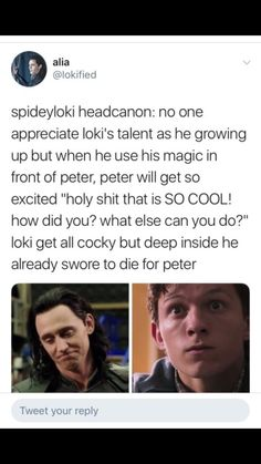 I don't ship romantic!spideyloki but, platoanically this cute