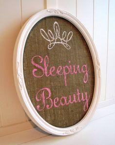 Sleeping Beauty / Sign / Vintage #Frame / Burlap / Crown Princess Wall Décor via #Etsy #Treasury