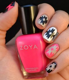 Perfect back to school nail art using Zoya - Zoya Nail Polish in Lo would be the perfect pink!