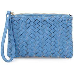 Neiman Marcus Woven Faux-Leather Wristlet Bag (50 CAD) ❤ liked on Polyvore featuring bags, handbags, shoulder bags, denim blue, faux leather handbags, vegan leather handbags, synthetic leather handbag, woven handbag and wristlet purse