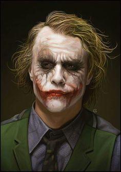 Heath Ledger as Joker in 'The Dark Knight' - Joker Heath, Joker Batman, Joker Y Harley Quinn, Der Joker, Joker Art, Gotham Batman, Batman Art, Batman Robin, Ben Batman