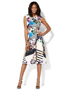 Midi Flare Dress - Floral/Linear Print  - New York & Company
