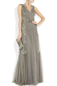 Alberta Ferretti | Gray Embroidered Tulle Gown | Lyst