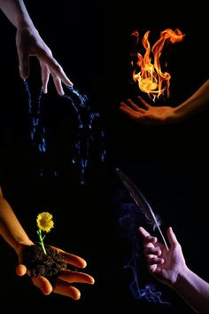 Hands illustrate the Four Elements