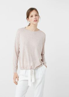 Adjustable cord sweater - Cardigans and sweaters for Woman | MANGO Denmark