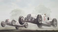 Manfred von Brauchitsch could hardly control the power of the new W125 as he soared off a lip at the 1937 British Grand Prix at Donington on 2nd October. He was closely followed and challenged by another great, Bernd Rosemeyer, in his Auto Union.