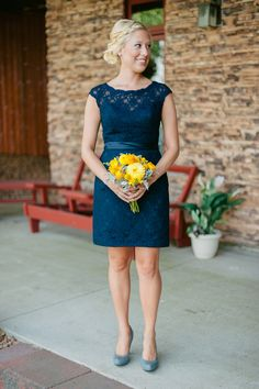 Navy lace bridesmaids dress. Harper by Kennedy Blue.