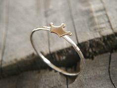 Mini crown ring, brass and silver stacking ring, ONE slim silver ring, hammered skinny rings on Etsy, $14.00