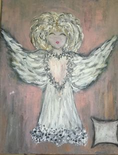 The Heart of an Angel /acrylic and chalk with textured medium  5-17-2017