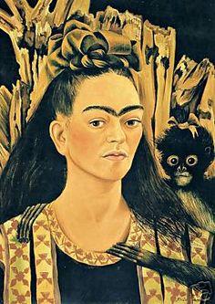 Frida Kahlo 1945 With monkey.
