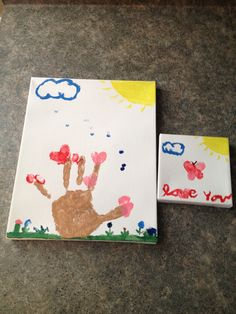 Valentines day fingerprint gifts: Use your child's hands, feet or fingers to create trees, butterfly's, flowers and other fun pictures with acrylic paint on canvas! Super fast, easy and fun:) makes a very personal gift.