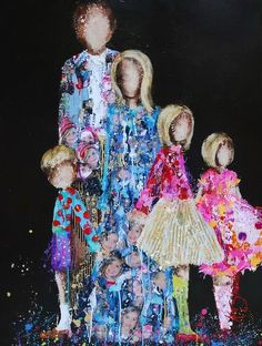 """Kim Schuessler- Check out the faces of the family in the mom and dad's """"clothing""""! Collage Art Mixed Media, Mixed Media Artists, Art Journal Inspiration, Painting Inspiration, Whimsical Art, Painting For Kids, Sculpture, Medium Art, Beautiful Paintings"""