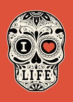 I Love Death Abstract Poster Print Halloween Makeup Sugar Skull, Sugar Skull Costume, Halloween Skull, Skeleton Makeup, Skull Makeup, Vintage Halloween, Sugar Skull Painting, Sugar Skull Art, Body Painting