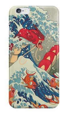 """""""The Great Wave off Kanto - Shiny Version"""" iPhone Cases & Skins by Missy Pena 
