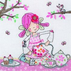 Emily Button invites you to her tea party. Accept the invitation and join her with this lovely child-themed cross stitch kit from Anchor  Brightly coloured with a nice cartoony feel, your daughter will delight at spending time with Emily and her two best friends Mousey and Bobble.  #EmilyButton #CrossStitch #TeaParty