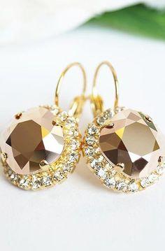 Rose Gold Crystal Cluster Earrings