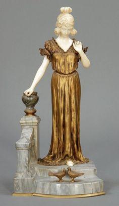 Dominique Alonzo erwähnt 1912 - 1926 Paris - Junge F Art Deco, Art Nouveau Design, Abstract Sculpture, Sculpture Art, Sculptures, Bronze, Ooak Dolls, Decoration, Art Forms