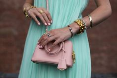 Atlantic-Pacific: details lately // mint dress, Prada purse