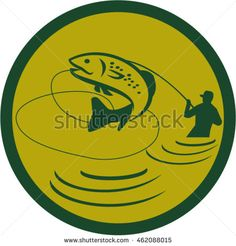 Illustration of a trout fish jumping and fly fisherman fishing viewed from the side set inside circle on isolated background done in retro style. #flyfishing #retro #illustration
