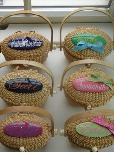 love the idea of personalized nantucket baskets to fill up with goodies  for your guests