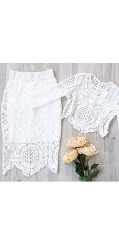 White Scallop Lace 3/4 Sleeve Scoop Neck Crop Top Bodycon Midi Skirt Two Piece Dress
