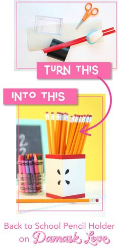Create this easy Back to School DIY pencil holder for your favorite student or teacher. Get ready for school with this crafty how to tutorial. Easy Crafts To Sell, Paper Crafts For Kids, Diy Back To School, Diy School, School Ideas, Mason Jar Crafts, Mason Jar Diy, Construction Paper Crafts, Budget Crafts