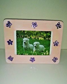 Pink and purple wood picture frame girls room baby pictures 4 x 6 hand painted