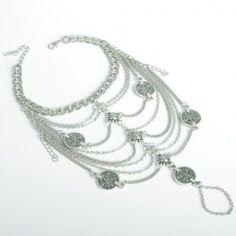 Vintage Coin Tassel Multideck Body Chain For Women - SILVER