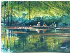Entre manglares, pastel. Por: Gerardo Vejarano.