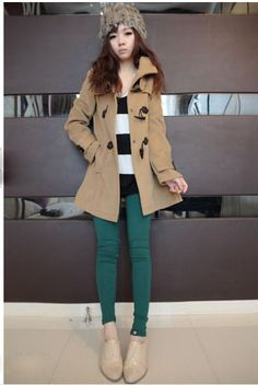 Slimming Horns Buckle Hooded Worsted Coat For Women )  - Sammydress.com