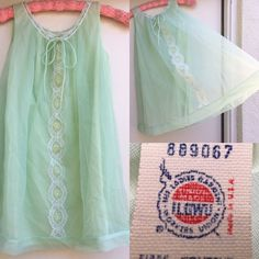 Vintage Miss Elaine Nightie Babydoll Nightgown Petite Pastel Green ILGWU Label  | eBay