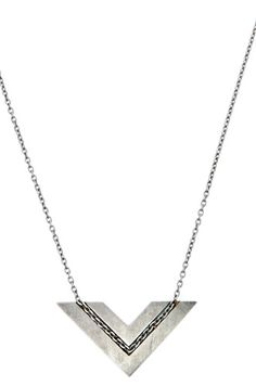 Embedded Chain Chevron Pendant | Sterling Silver - $100.