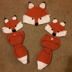 Crochet fox hats & diaper covers with tails I made.