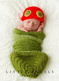 My Very Hungry Caterpillar Newborn Hat and Cocoon by SunsetCrochet