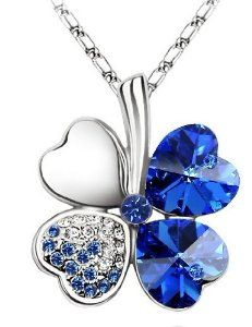 "Swarovski Elements Crystal Four Leaf Clover Pendant Necklace 19""-CN9034B"