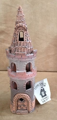 Lithuanian Clay House Candle Holder Handmade castle turret pink vintage tea