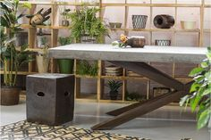 Zanita Concrete Dining Table // Wood Fired Ceramic Santo Stool // Indoors & Outdoors Industrial Furniture at Schots in Melbourne, Australia