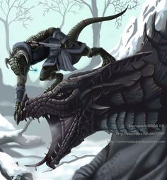 Skyrim: Argonian Dovahkiin and Dragon Elder Scrolls Lore, Elder Scrolls Games, Elder Scrolls Skyrim, Video Game Art, Video Games, Arrow To The Knee, Cool Dragons, High Elf, Video X
