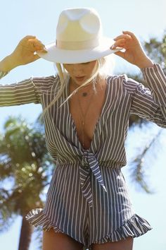 Striped, Long sleeve Romper! With a Floppy Hat!