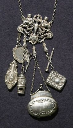 antique Sterling silver Chatelaine necklace with scissors purse whistle and more
