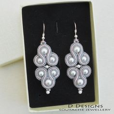Grey & Light Pink Soutache Earrings with Swarovski Pearls