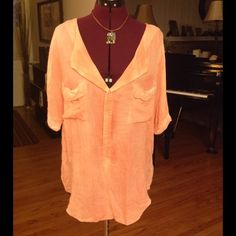Pretty peach blouse Made of rayon. Hand wash or dry clean. Excellent condition. Free People Tops Blouses