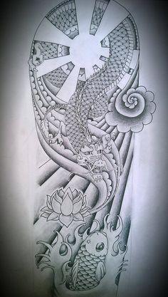 Japanese half sleeve design by ilazen on DeviantArt Half Sleeve Tattoo Upper Arm, Upper Arm Tattoos For Guys, Tattoos For Women Half Sleeve, Half Sleeve Tattoo Stencils, Half Sleeve Tattoos Drawings, Half Sleeve Tattoos Designs, Armor Sleeve Tattoo, Dragon Sleeve Tattoos, Best Sleeve Tattoos