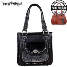 """Montana West TR168G-8561 Trinity Ranch Tooled Handbag. Trinity Ranch line by Montana West, this partial genuine leather handbag has:  Genuine hair-on leather on the front pocket Studs accents A single compartment divided by a medium zippered pocket A zippered pocket on the back to conceal the handgun (9 x 5.5) A zipper enclosure for the entire purse A smaller zippered pocket on inside back 2 open pockets on the inside front An open and zippered pocket on the back Double pocket  13"""" x 4.5"""" x…"""