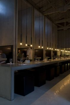 .PSLAB's lighting design for the Workshop kitchen and bar in Palm Springs, California