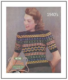 1940s fair isle #sweater #vintage knitting #pattern, View more on the LINK: http://www.zeppy.io/product/gb/2/131793696263/