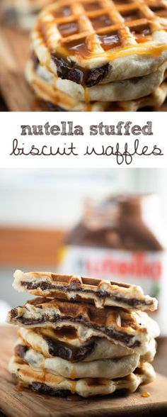 Just three ingredients for these easy Nutella stuffed waffles!
